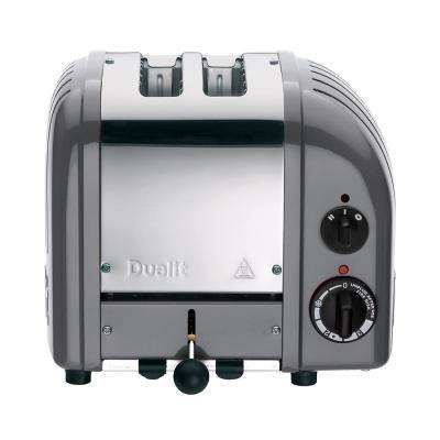 New Gen 2-Slice Cobble Gray Wide Slot Toaster with Crumb Tray