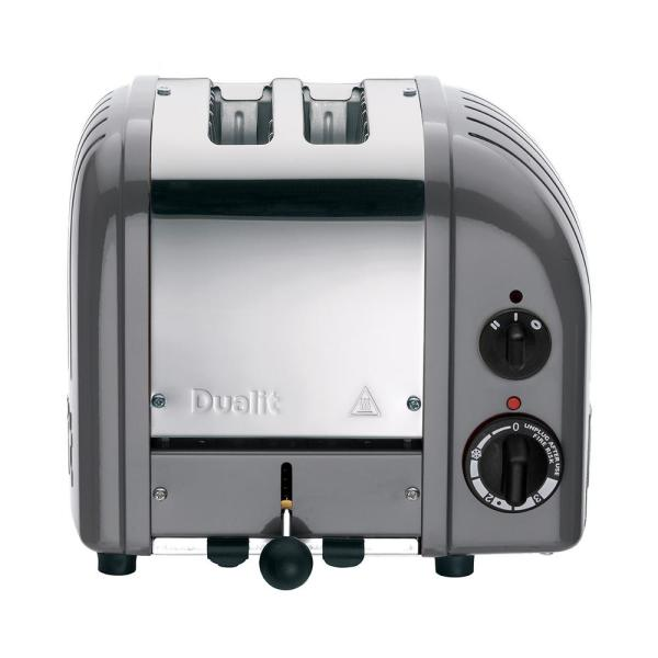 Dualit New Gen 2-Slice Cobble Gray Wide Slot Toaster with Crumb