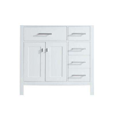 London 35.5 in. W x 21.5 in. D Vanity Cabinet Only in White with Right Drawer