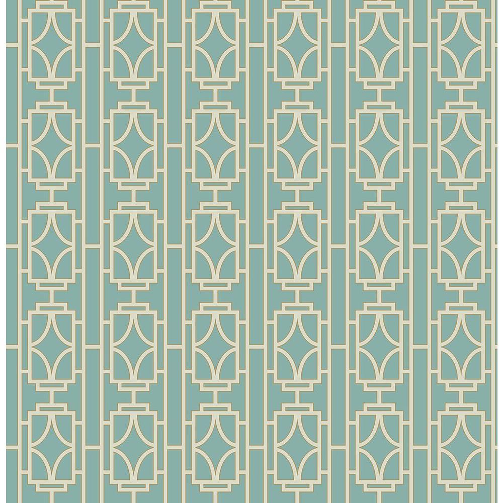Empire Turquoise Lattice Wallpaper Sample