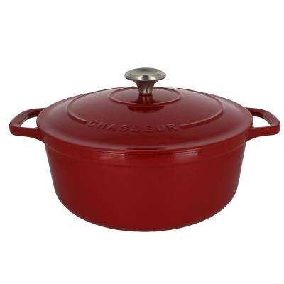 5.5 Qt. Red French Enameled Cast Iron Round Dutch Oven