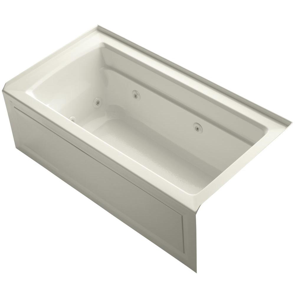 Archer 5 ft. Right-Drain Rectangular Alcove Whirlpool Bathtub in Biscuit
