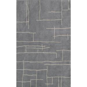 Vincente Contemporary Abstract  Gray 4 ft. x 6 ft. Area Rug