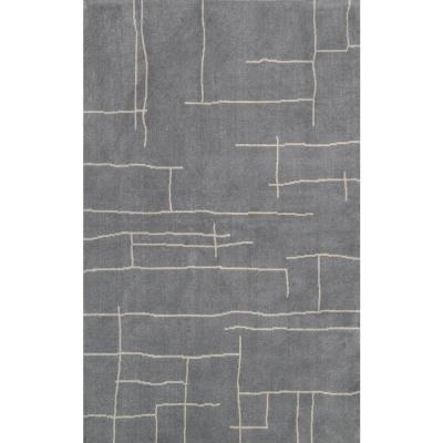 Vincente Contemporary Abstract  Gray 5 ft. x 8 ft. Area Rug