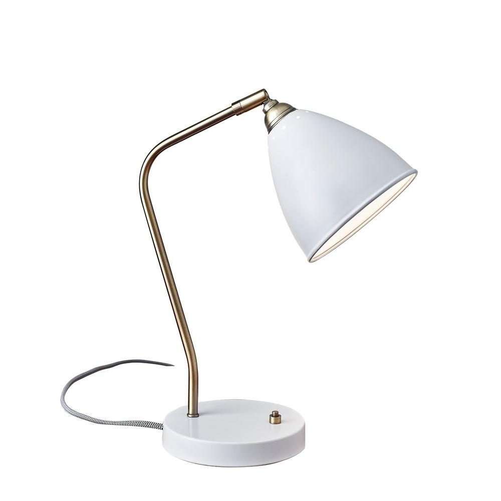 21 in. White Chelsea Desk Lamp