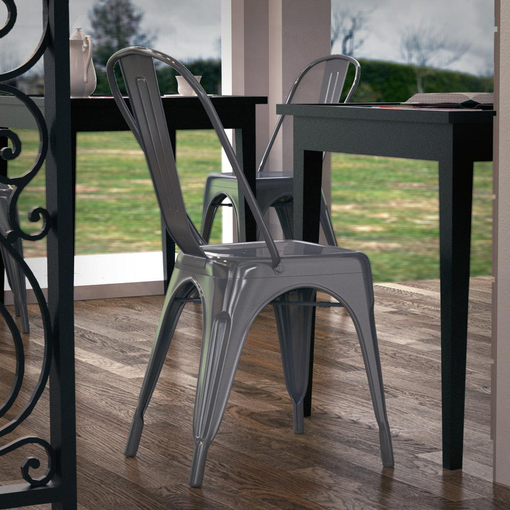 Poly And Bark Trattoria Polished Gunmetal Side Chair (Set Of 4)