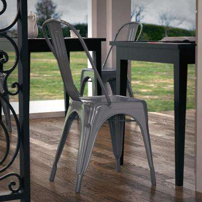 Trattoria Polished Gunmetal Side Chair (Set of 4)