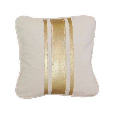 12 in. x 12 in. Natural with Gold Paintstroke Stripes Brushed Canvas  Standard Pillow with Green Eco Friendly Insert