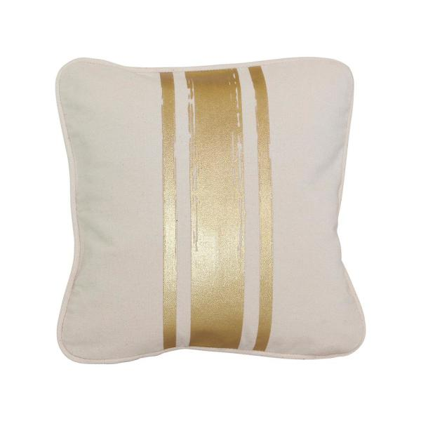 Paint Stroke Natural and Gold Stripes Striped Cotton 12 in. x 12 in. Throw Pillow
