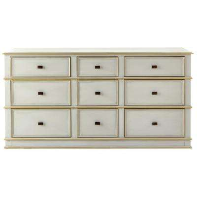 Dinsmore 9 Drawer Antique Dove Grey Dresser