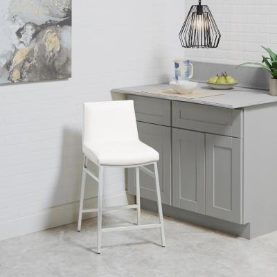 Norton 24 in. Silver and White Bar Stool
