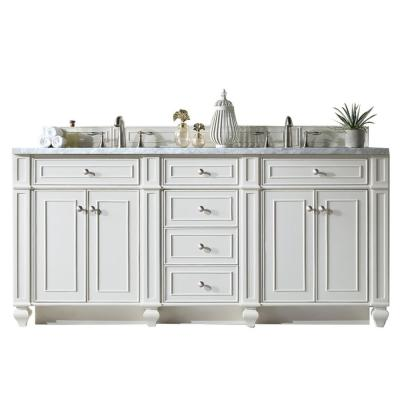 Bristol 72 in. Single Bath Vanity in Bright White with Acrylic Vanity Top in Arctic Fall with White Basin