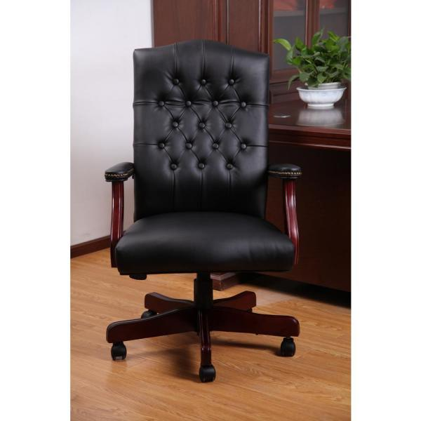 Boss Office Black Vinyl Classic Executive Chair B905 Bk The Home Depot