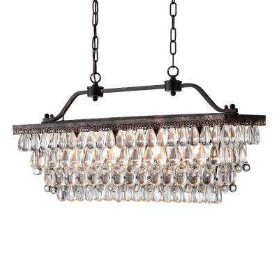 4-Light Antique Bronze Crystal Chandelier
