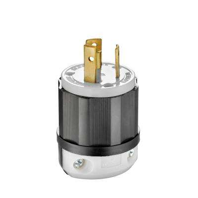 30 Amp 125-Volt Locking Plug, Black and White