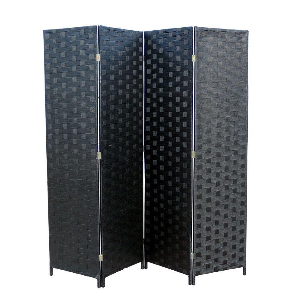 Black 4 Panel Room Divider