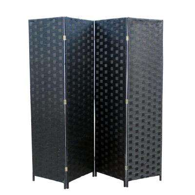 5.9 ft. Black 4-Panel Room Divider