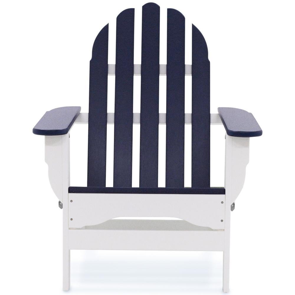 Icon White and Navy Plastic Folding Adirondack Chair