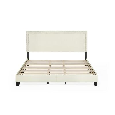 Laval Linen King Double Row Nail Head Bed Frame