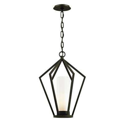 Whitley Heights Textured Black 1-Light 14 in. W Outdoor Hanging Light with Opal White Glass