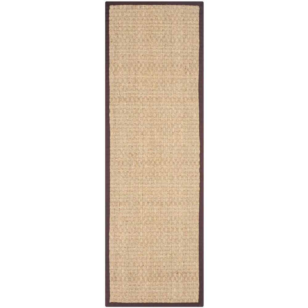 Natural Fiber Beige/Dark Brown 2 ft. 6 in. x 12 ft.