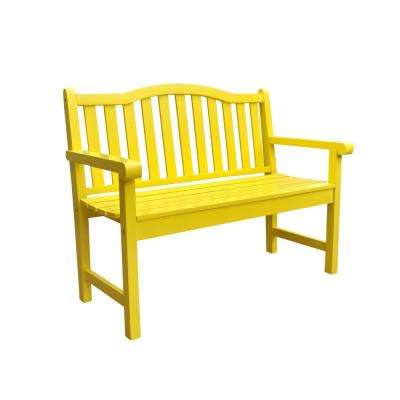Belfort Cedar Wood Outdoor Garden Bench 43.25 in. - Lemon Yellow