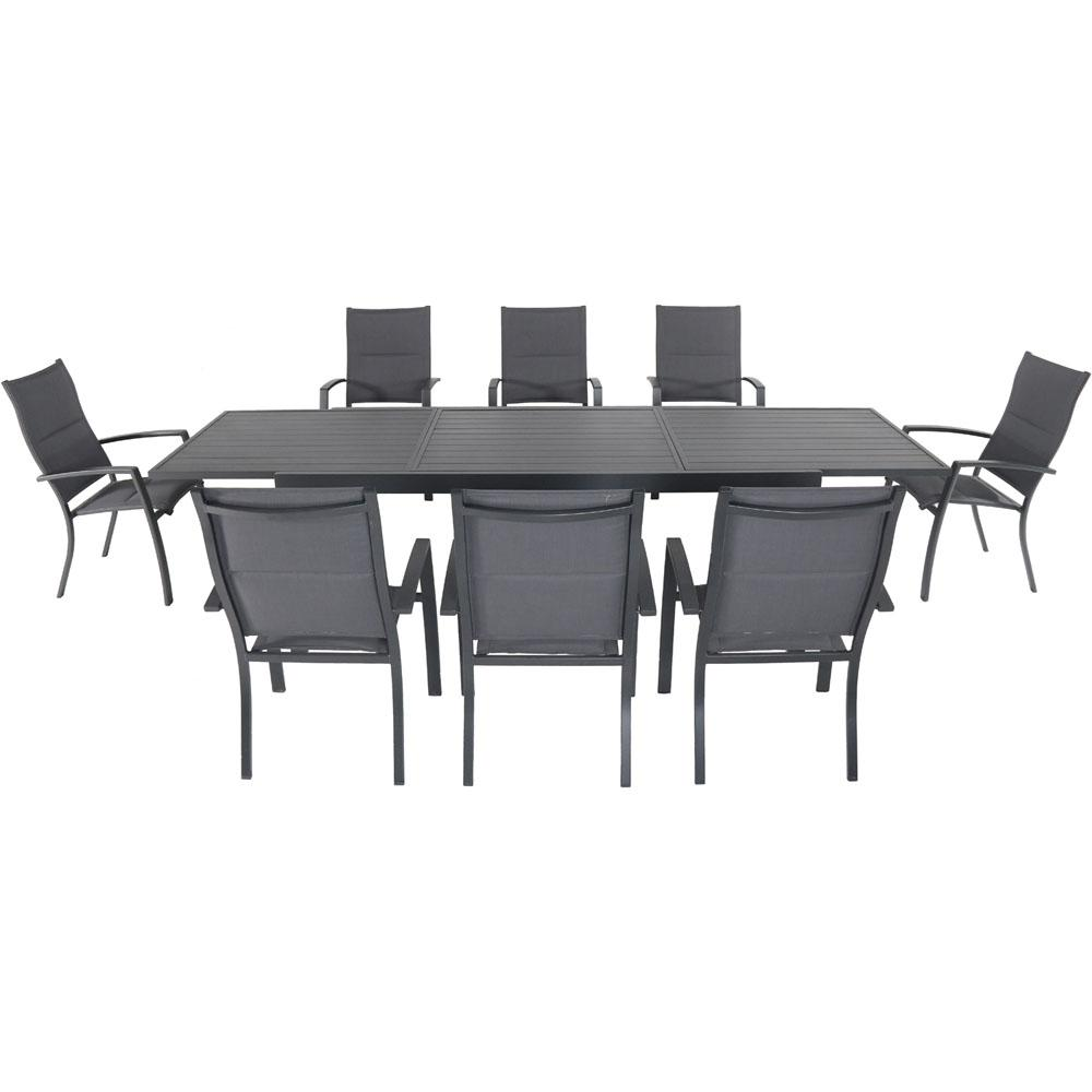Charmant Hanover Naples 9 Piece Aluminum Outdoor Dining Set With 8 Padded Sling  Chairs And A