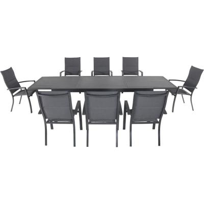 Naples 9-Piece Aluminum Outdoor Dining Set with 8 Padded Sling Chairs and a 40 in. x 118 in. Expandable Dining Table