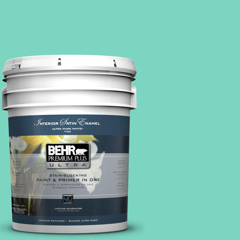 BEHR Premium Plus Ultra 5-gal. #P430-3 Green Parakeet Satin Enamel Interior Paint