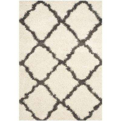 Dallas Shag Ivory/Dark Gray 6 ft. x 9 ft. Area Rug