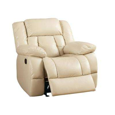 Phenti Ivory Bonded Leatherette Glider Recliner Chair