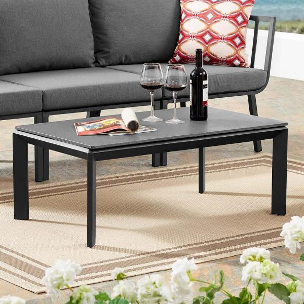 Riverside Aluminum Outdoor Coffee Table in Gray