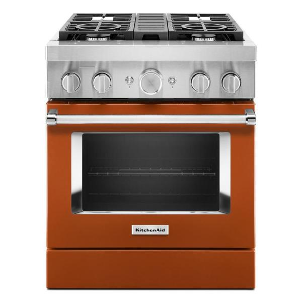 30 in. 4.1 cu. ft. Dual Fuel Freestanding Range with 4-Burners in Scorched Orange