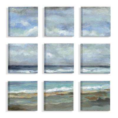 "9pc, each 12 in. x 12 in. ""Beach Side Tide And Sky Blue and Tan Painting"" by Silvia Vassilwva Canvas Wall Art"