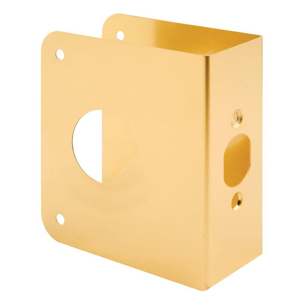 Prime-Line 2-3/4 in. Backset x 1-3/4 in. Thick Brass Finish Non-recessed Door Reinforcer