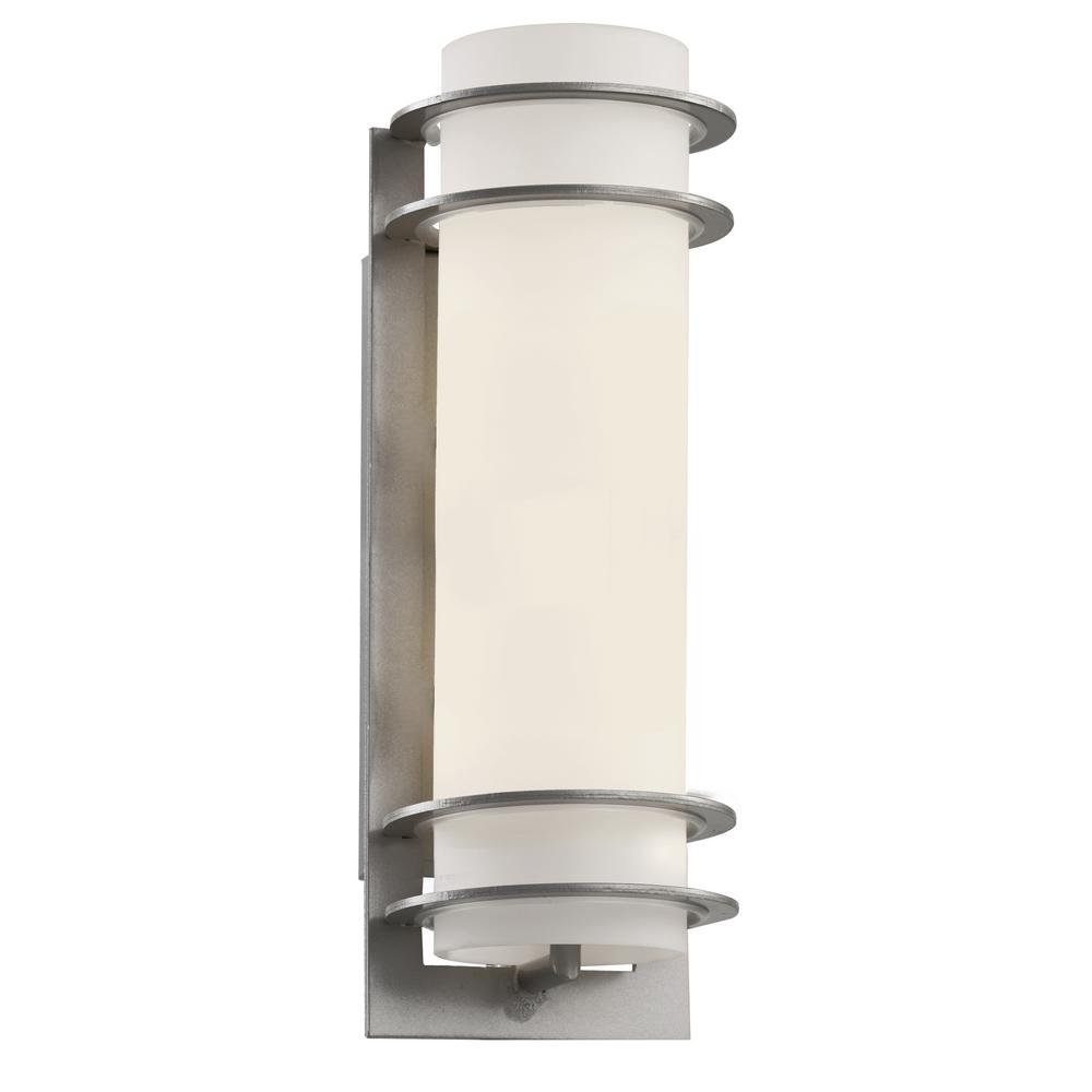1-Light Silver Outdoor Wall Cylinder Lantern With Frosted Glass