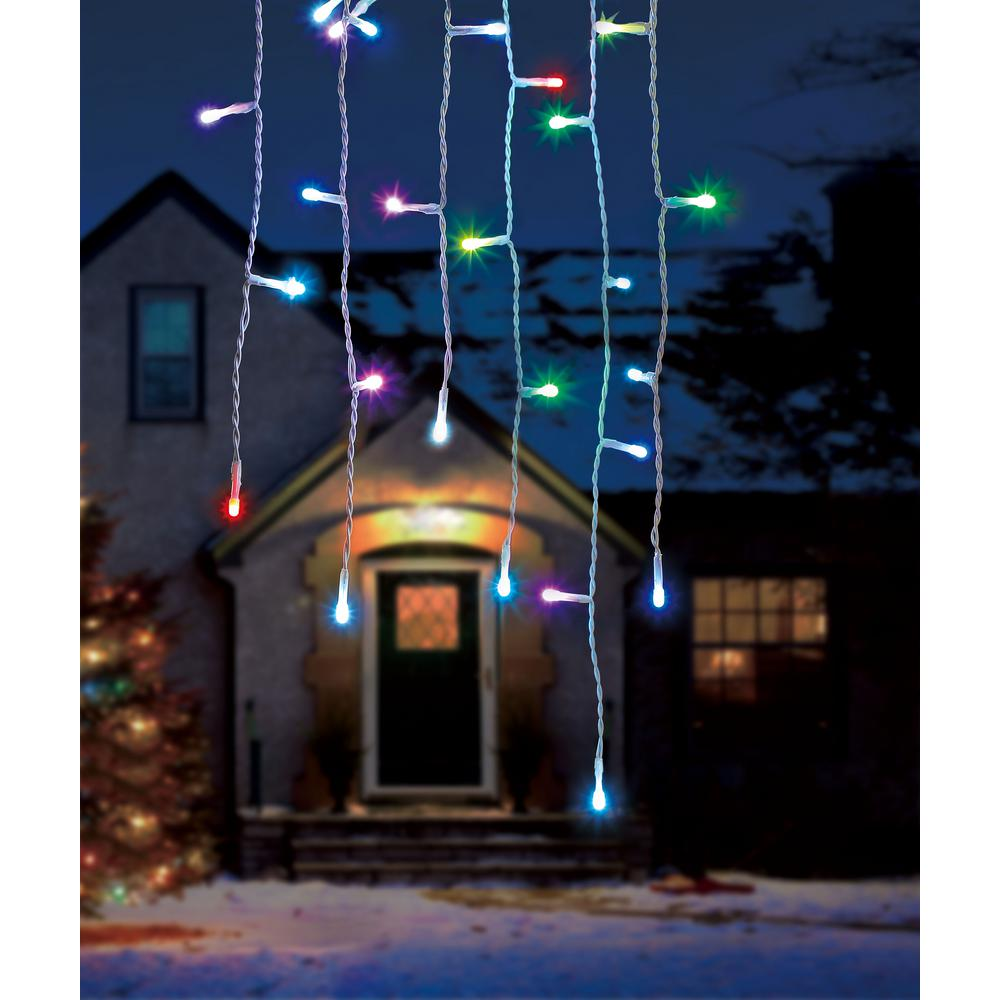 color blast remote controlled 36 light icicle string rgb led lights