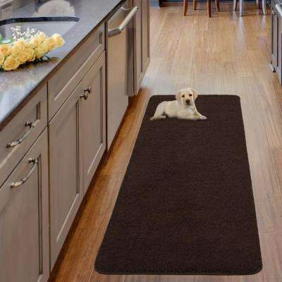 Luxury Shaggy Collection Shag Solid Design Brown 2 ft. x 6 ft. Runner Rug
