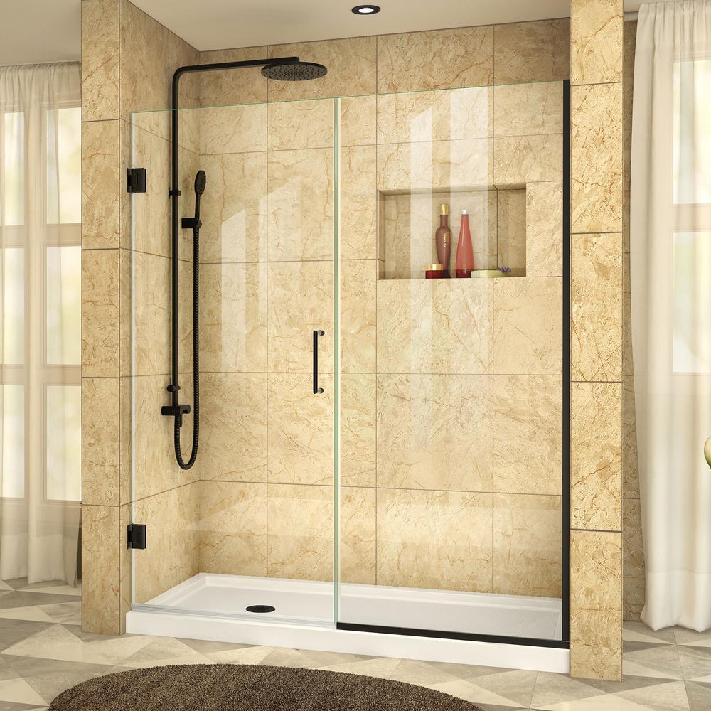 Unidoor Plus 58-1/2 in. to 59 in. x 72 in. Semi-Frameless Pivot Shower Door in Satin Black with Hardware