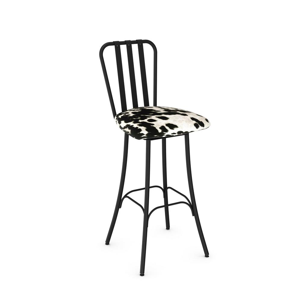 Club 26 In Textured Black Metal Soft Black And White Faux Cowhide