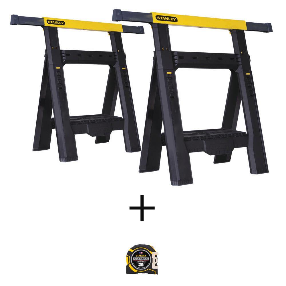 31 in. 2-Way Adjustable Plastic Folding Sawhorse with Bonus FATMAX 25 ft. x 1-1/4 in. Auto Lock Tape Measure (2-Pack)
