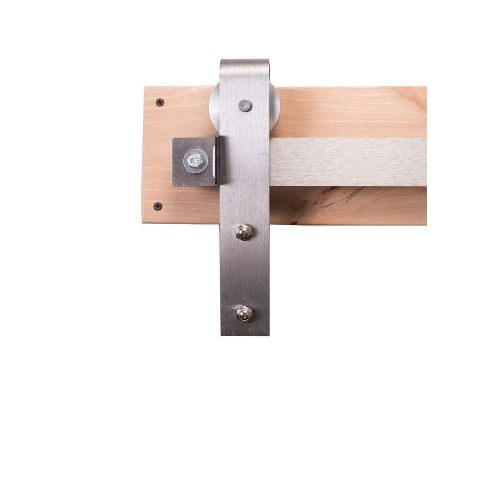 Rustica Hardware 84 In. Brushed Steel Sliding Barn Door Hardware Kit With  Industrial Hangers And