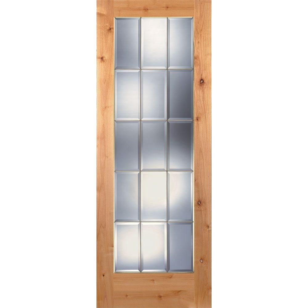Feather River Doors 30 in. x 80 in. 15 Lite Unfinished Knotty Alder Clear Bevel Brass Woodgrain Interior Door Slab