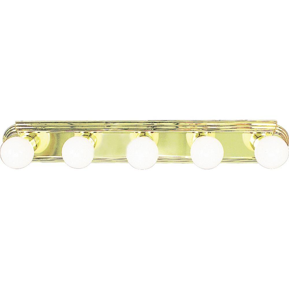 5-Light Polished Brass Bath and Vanity Light