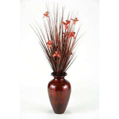 Indoor Brown Ting with Red Blossoms in Red and Gold Spun Bamboo Vase