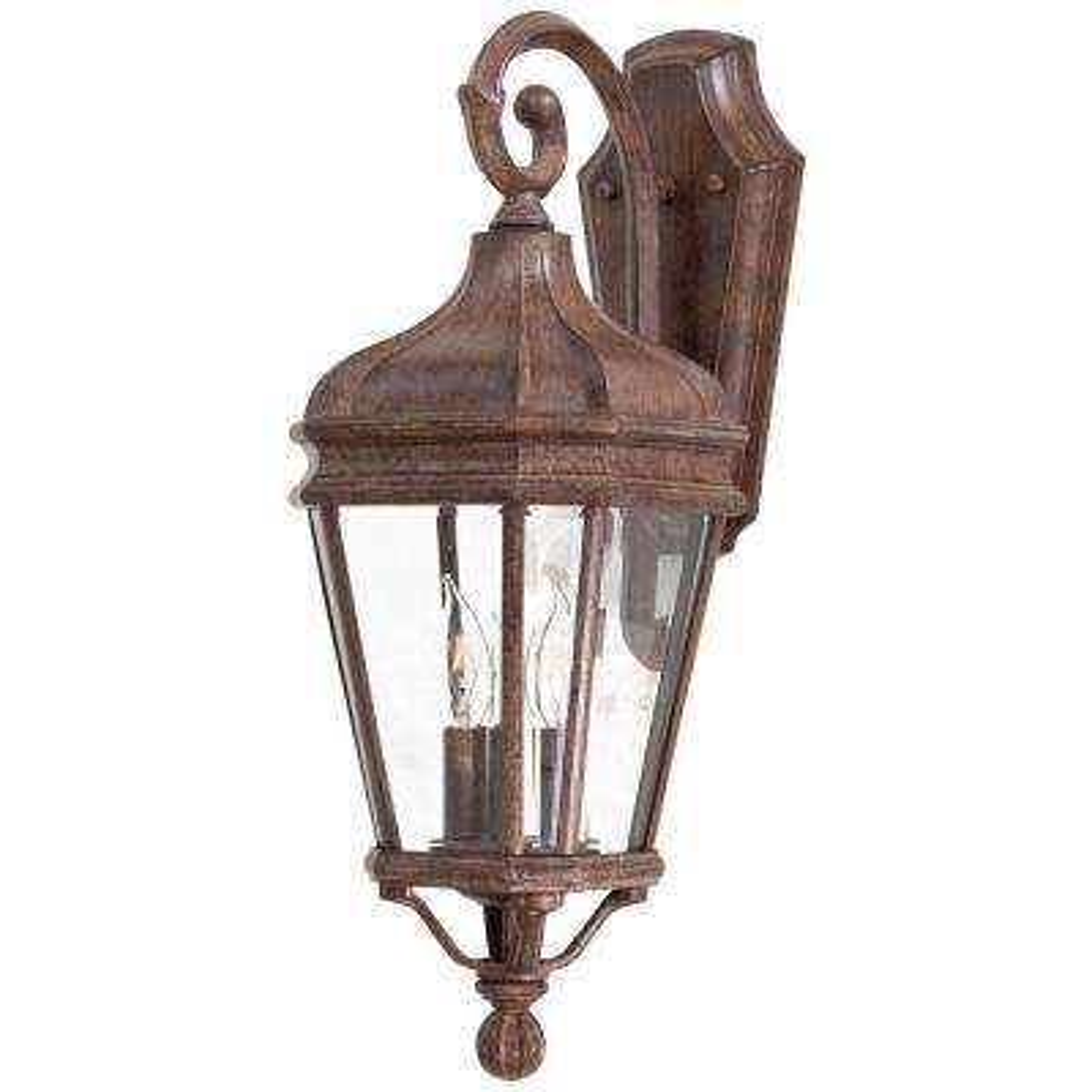 Harrison 2-Light Vintage Rust Outdoor Wall Mount Lantern