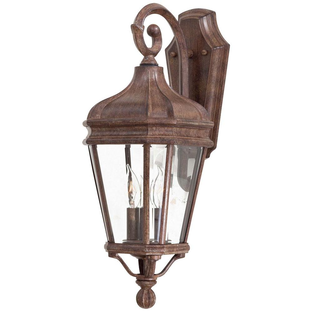 The Great Outdoors By Minka Lavery Harrison 2 Light Vintage Rust Outdoor Wall Lantern Sconce
