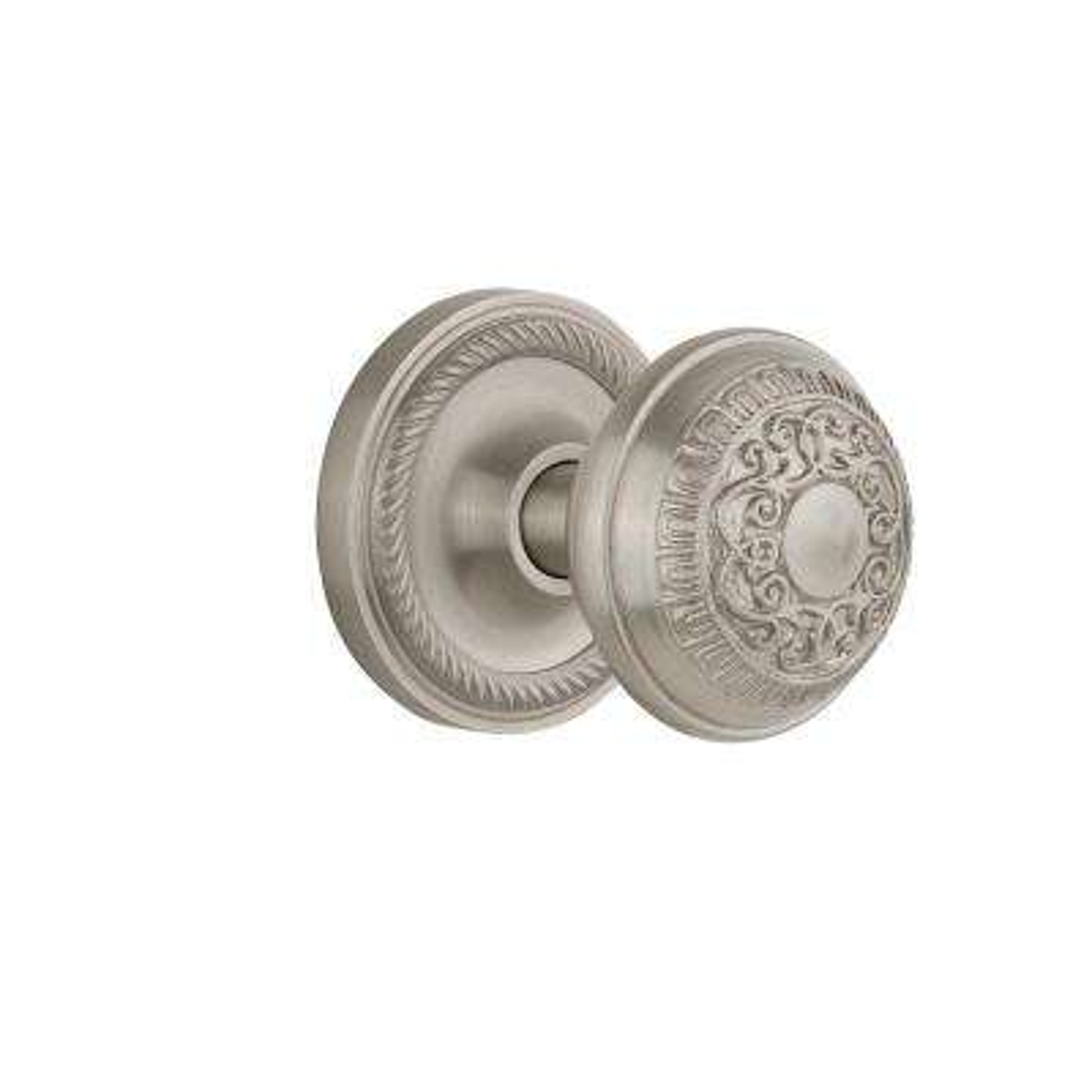 Rope Rosette 2-3/8 in. Backset Satin Nickel Privacy Bed/Bath Egg & Dart Door Knob