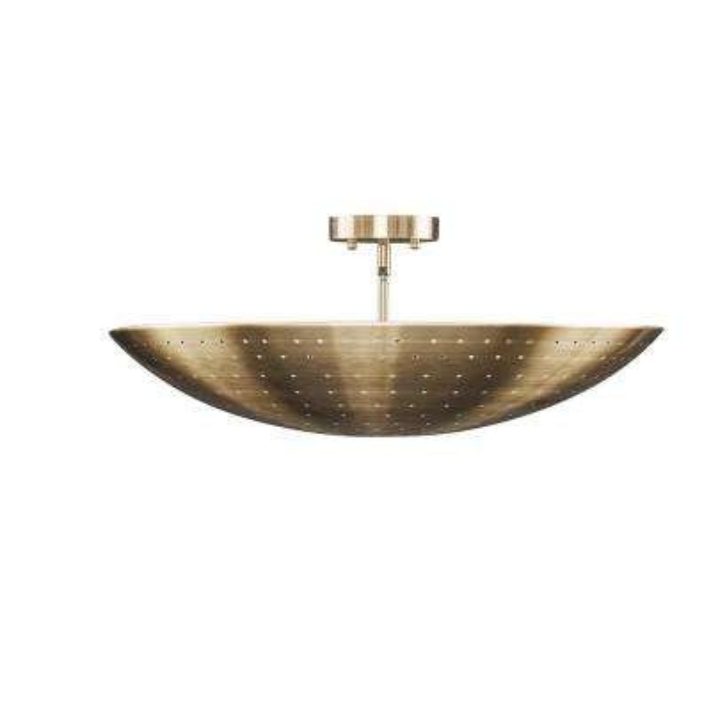 Caffrey 1-Light Antique Brass Flush-Mount Pendant
