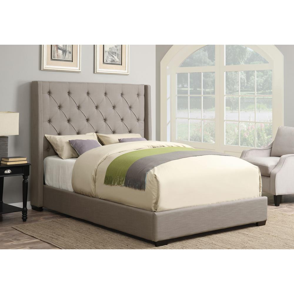 Pulaski furniture all in 1 taupe queen upholstered bed